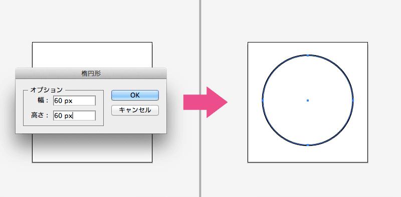 楕円形ツールで正円を配置